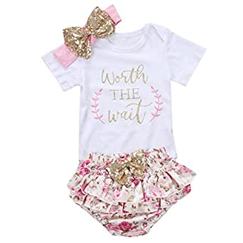 gllive Baby Girls' 3Pcs Worth The Wait Print Outfit Clothes Romper Bodysuit Pants Headband Set 12-24 Months Pink White