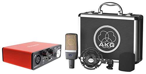 AKG C214 Studio Condenser Vocal Mic Microphone+Focusrite USB Recording Interface