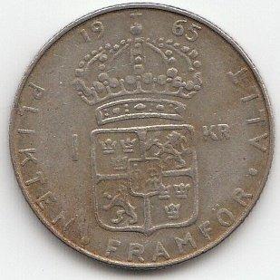 Schweden Km Nr 826 1965 Sehr Schön Silber 1965 1 Krona Gustav Vi