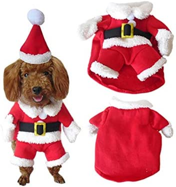 Disfraz de navidad para mascotas con gorro de papá Noel con capucha para Perro y gato 3