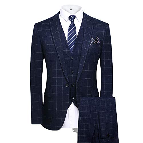MAGE MALE Men's Plaid 3 Piece Suit Elegant Two Buckle Slim Single Breasted Blazer Vest Pants Set (L, Dark Blue) ()