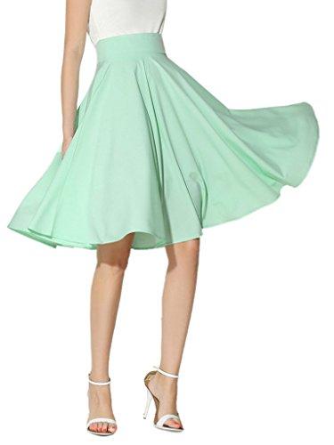 - Choies Women's High Waist Midi Skater Skirt, Green, Medium