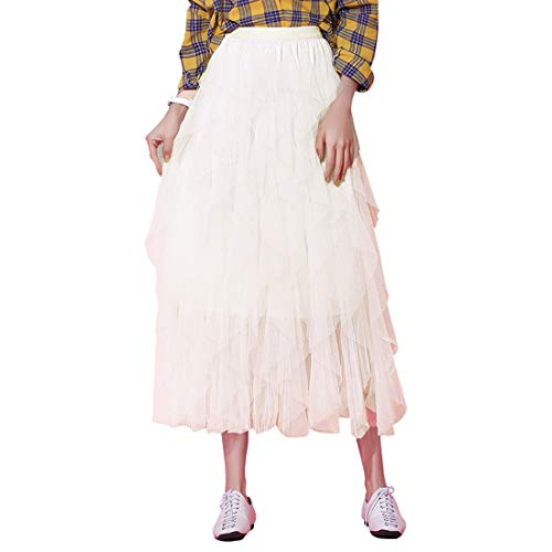 - Itemnew Women's Tulle Elastic Waist Ruffle Porm Party Layered Mesh Long Skirt (One Size, White)