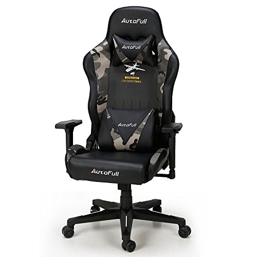 - AutoFull High-back Gaming Computer Chair - Adjustable Soft PU Video Game Chair with Lumbar Support and Headrest (Camouflage)