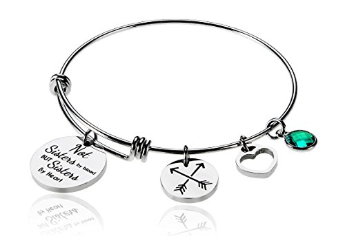 Not Sisters By Blood But Sisters By Heart Charm Birth Month Stone May Best Friend Friendship Bead Expandable Wire Bangle Bracelet For Women Girl Borivilla Little Sister Heart Charm