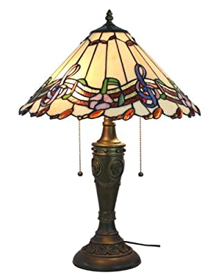 Amora Lighting Musical Notes Tiffany Style Table Lamp, 24 Inches