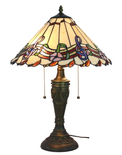 (Amora Lighting Musical Notes Tiffany Style Table Lamp, 24)