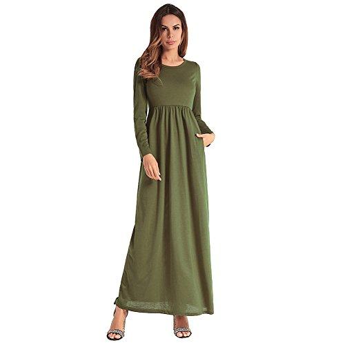 Zhuxin Robes De Soire, Sexy sans Bretelles Maxi Dress Solide Couleur Tunique D't Taille Haute Poches Longues Casual Beach Party Dress pour Femmes (Color : Green3, Size : XL)