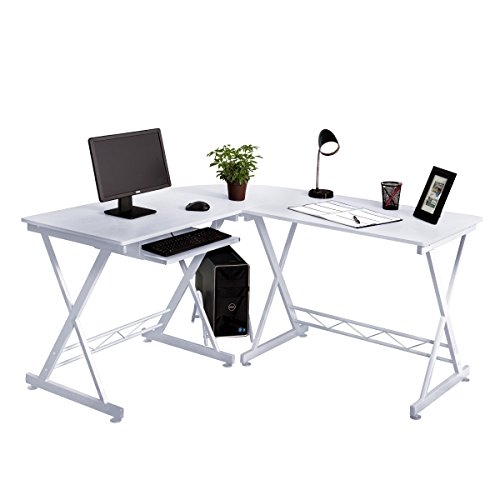 Fineboard Home Office L-Shaped Corner Desk, White by Fineboard