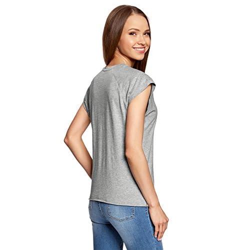 caf5b3100d55 oodji Ultra Mujer Camiseta de Algodón con Estampado 70%OFF - www ...