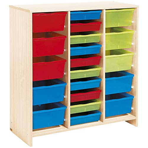 Nathan 372135 Tall Unit with 20 Multicolored Trays, Birch Effect Melamine, Multi Color