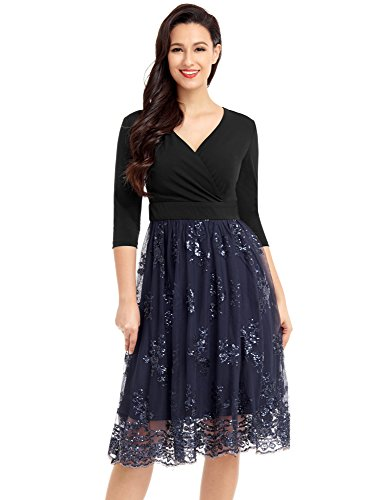 Mesh Surplice Dress - Lookbook Store Women Sequin Mesh Dress Navy Large US 12-14