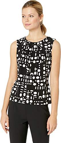 Calvin Klein Women's Printed Pleat Neck Cami Black/Cream Medium