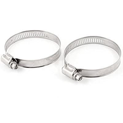 Uxcell Adjustable 115mm-205mm Range Hose Clamp Pipe Clips Fastener, 2 Pcs