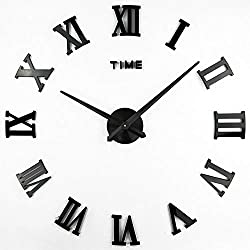 Timelike 3D DIY Wall Clock, 1M Modern Frameless Large 3D DIY Wall Clock Kit Decoration Home for Living Room Bedroom (Black-Black)