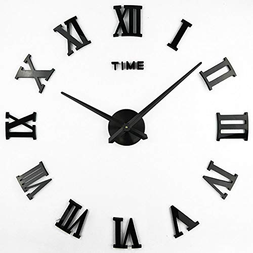 Clock, 1M Modern Frameless Large 3D DIY Wall Clock Kit Decoration Home for Living Room Bedroom (Black-Black) ()
