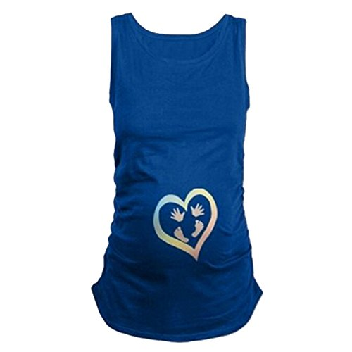 Humor Pregnancy Tee Sleeveless Maternity Tank Tops Funny Pregnant Women T Shirts-Hands and feet,Blue M - Funny Maternity Tees