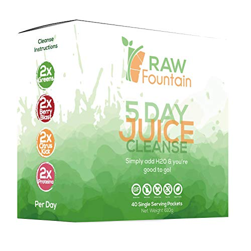 5 Day Juice Cleanse Detox | 40 Single Serving Powder Packets | Portable Travel & Vegan Friendly | Weight Loss Program | All Natural Green Supplement (5 Day)