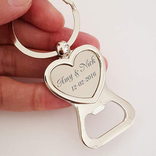 (DENGNIWO Bottle Opener50x Free Engraved Personalised Wedding Favour Love Heart Keyring Bottle Opener Keychain Personalized Wedding Favor Gift Souvenir)