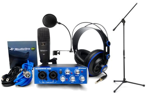 - Presonus AudioBox Studio Recording Interface w/Headphones, M7 Mic, Software, Pop Filter, and Mic Stand