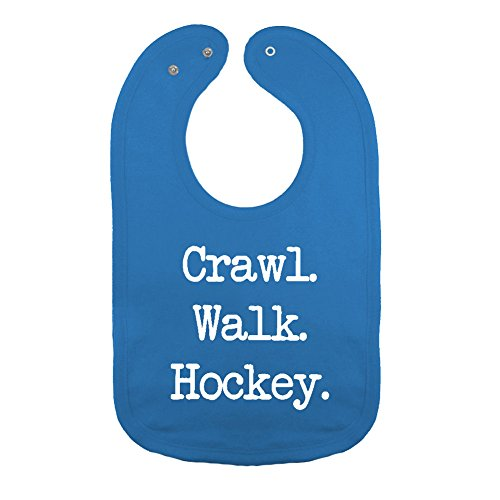 We Match! Unisex-Baby - Crawl Walk Hockey Thick PREMIUM 2-Ply Cotton Baby Bib With Snaps (Hockey Baby Bib)