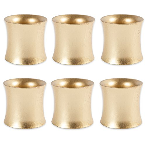 DII Shabby Chic Napkin Rings for Wedding Receptions, Dinners Parties, Family Gatherings, or Everyday Use - Curved Shimmer Gold, Set of 6