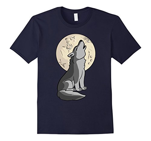 Mens Halloween Wolf Shirt - Cute Wolf Moon Costume Idea T-Shirt 2XL Navy