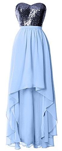 MACloth Dark Formal Dress Bridesmaid navy Hi Party Sky Sequin Chiffon Gorgeous Lo Gown Wedding Blue AwASgaq1x