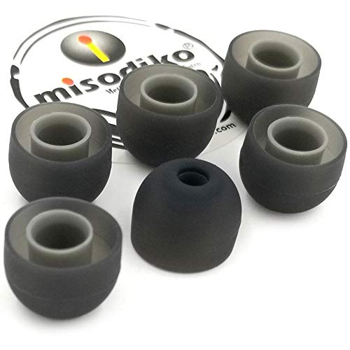 misodiko S550 Silicone Earbuds Tips - for Jaybird X4 X3 X2, BlueBuds X, Freedom/ 1MORE E1001 Triple Driver/Photive PH-BTE50/ Plantronics Backbeat GO 3- Replacement Earphoes Eartips (3-Pairs, Large)
