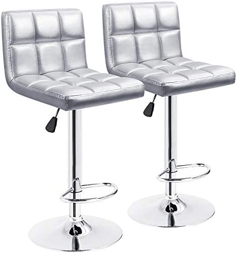 Furmax Bar Stools Modern Pu Leather Swivel Adjustable Hydraulic Bar Stool Square Counter Height Stool Set of 2 Sliver