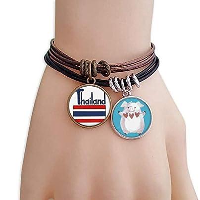 master DIY Thailand National Flag Red Blue Pattern Bracelet Rope Wristband Pig Heart Love Set Estimated Price -