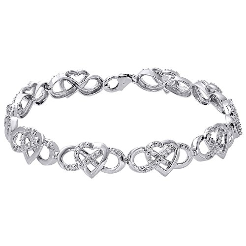 Diamond Cut Heart Link Bracelet - 10K White Gold Round Cut Diamond Heart & Infinity Link Ladies Tennis Bracelet 7