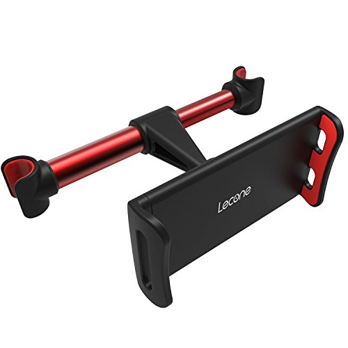 Price comparison product image Car Headrest Mount, Lecone 360 Rotated Vehicle Seat Back Stand Bracket Holder Racket for 4.4''- 11'' Smartphones, Tablets, Kindle Fire, Nintendo Switch (black & red)
