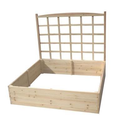 Solid Fir Wooden Raised Garden Bed with Lattice Trellis - Eden Shopping Center