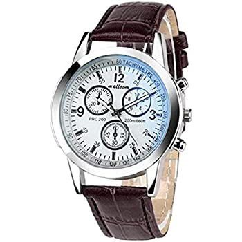 Windoson Men Quartz Watch Analog Business Casual Fashion Wristwatch Mens Leather Watch (A)