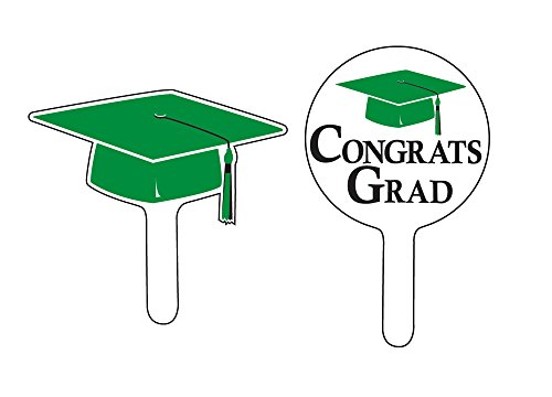 Creative Converting 24 Count Graduation Cap/Congrats Grad Cupcake Picks, Green