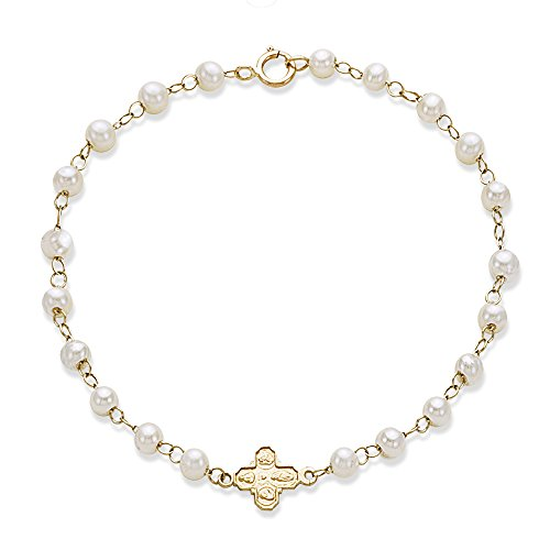 Four Saint Cross On Pearl Bracelet Crafted in 14K Yellow Gold by First Communion Jewelry by BOS Jewelers, Inc.