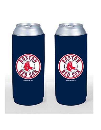 (MLB Baseball Team Color Logo Tall Boy 24oz Neoprene Can Holder Sleeve Cooler 2-Pack (Boston Red Sox))