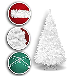 BenefitUSA 6' White 180CM Classic Pine Christmas Tree Artificial Realistic Natural Branches-Unlit 8