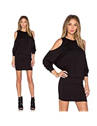 DaySeventh Sexy Women Solid Long Sleeve Off Should Evening Party Mini Club Dress