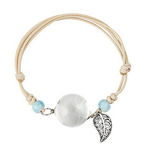 Disney Couture Necklace Flowers - Mikash Women Dried Flower Bracelets Glass Ball Bangle Adjustable Rope Jewelry Gifts New | Model BRCLT - 11743 |