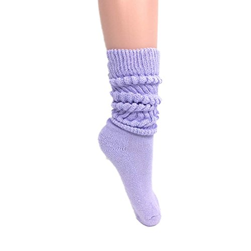 Women's Extra Long Heavy Slouch Cotton Socks Made in USA Size 9 to 11 (1 Pair - Lilac)