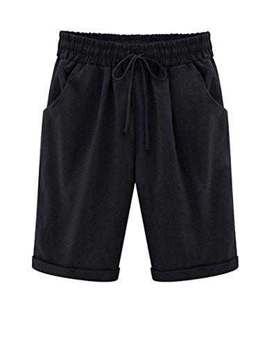 YouBens Women Casual Elastic Waist Knee-Length Curling Bermuda Shorts (XL(US-L), Black-Long)