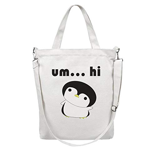 12.5X15 Inches Cute Zip Custom Design Canvas Large Tote Bag For Women baby penguin cartoon Foldable Grocery Beach Work Gym Book Lunch School Shopping Shoulder Handbag