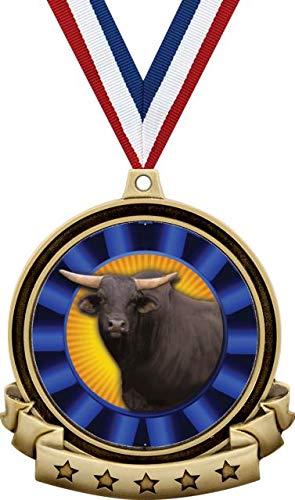 ブルメダル - 2.5インチ ゴールドブルロゼット メダルアワード レッド&ホワイト&ブルーネックリボン付き Great Bull Animal Award Prime B07MSKJFXJ  20