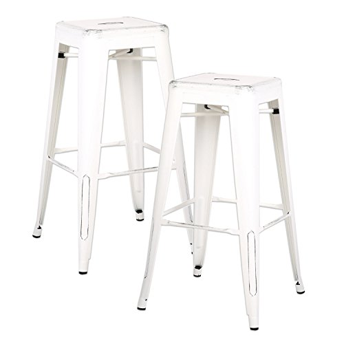Martini Counter Stool - AC Pacific Modern Backless Light Weight Industrial Metal Barstool 4 Leg Design, 30