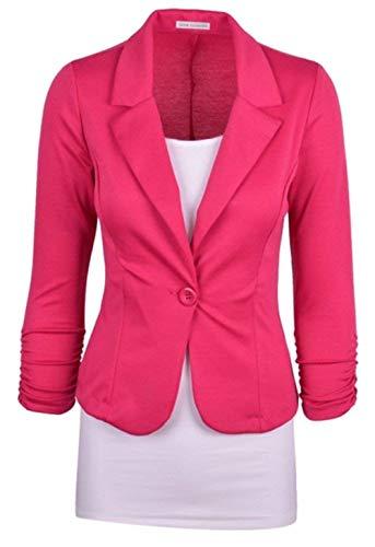 Sottile Chic Button Tempo Fashion Manica Blazer Primaverile Tailleur Rosa Eleganti Corto Giacca Bavero Rot Business Cappotto Donna Camicia Da Libero Autunno Con Ufficio Giovane Lunga ZPC8tO