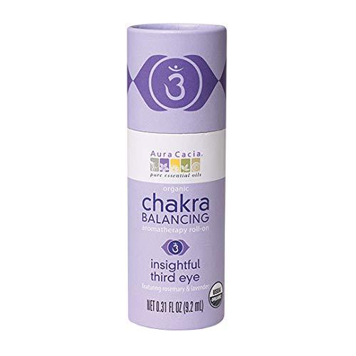 Aura Cacia Certified Organic Insightful Third Eye Chakra Balancing Roll-On | 0.31 fl. oz.