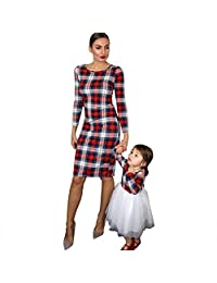 PopReal Mommy and Me Outfits Stretchy Plaid Christmas Dresses Long Sleeve Family Matching Outfits