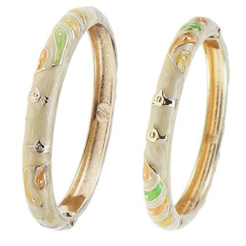 Enamel Hinged Cuff - UJOY Cloisonne Jewelry Enamel Bracelet Gold Hinged Peafowl Handmade Bangles for Woman Gift 55B26 Yellow